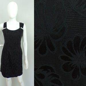 Vintage 80s Positively Ellyn Black Damask Dress